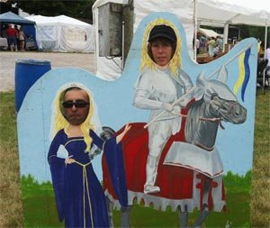 Photo Cutout of Mounted Medieval Knight and Lady