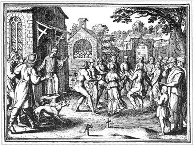 engraving of medieval dancers