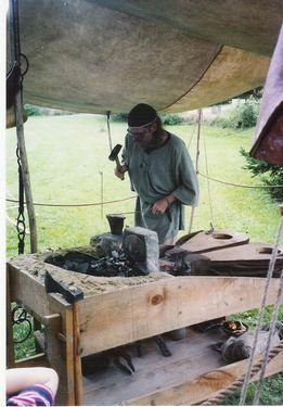 medieval blacksmith at work